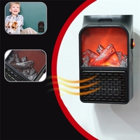 900W Mini Electric Wall-Outlet Flame Heater US Plug Air Warmer PTC Ceramic Heating Stove Radiator Household Wall Handy Fan