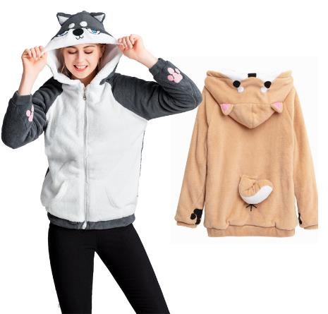 Doge Muco Women Hoodie Cute Shiba Inu Animal Hooded 3D Ear And Tail Husky Sweatershirt Autumn Winter Warm Casual Coat Pullover