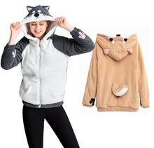 Doge Muco Women Hoodie Cute Shiba Inu Animal Hooded 3D Ear and Tail Husky Sweatershirt Autumn Winter Warm Casual Coat Pullover