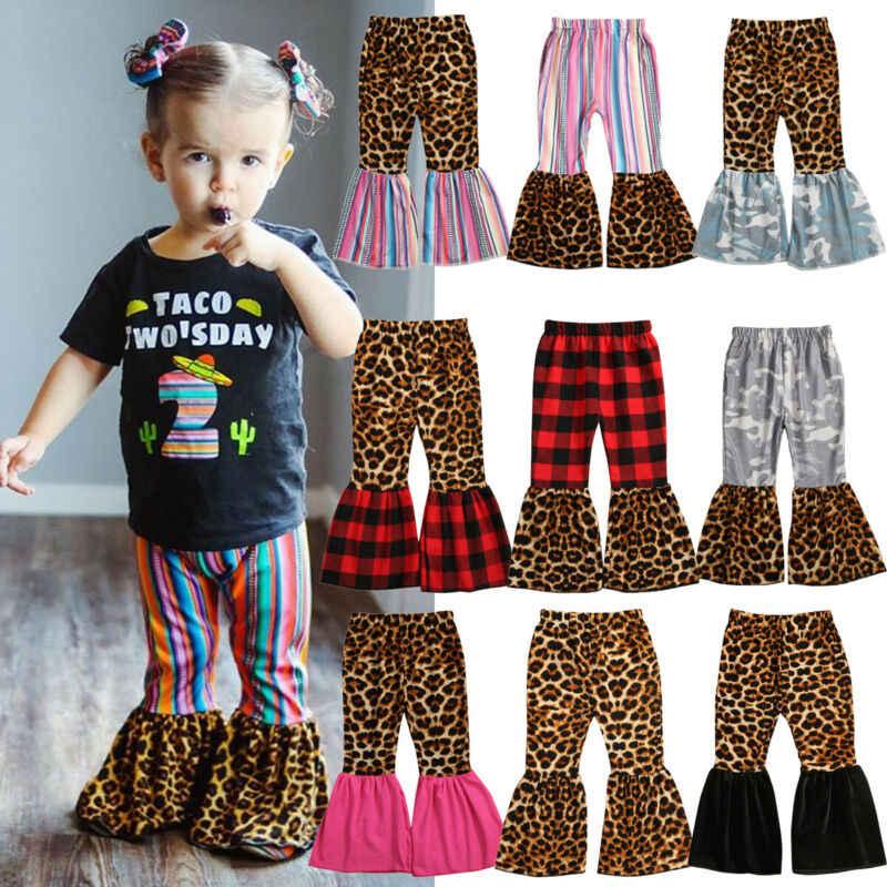 Leuke Peuter Kid Baby Meisje Kleding Leopard Plaid Leggings Lange Broek Broek 1-6Y Prinses Bell Bottoms Flare Broek 9 Stijlen