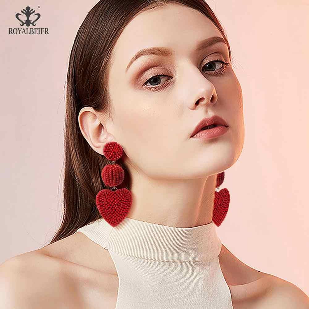 バレンタインデーのイヤリングボヘミアンファッション不規則な房イヤリング赤ビーズロングタッセルイヤリング女性ステートメントジュエリーギフト