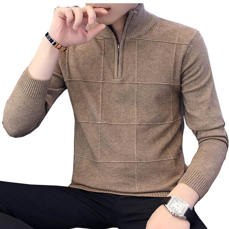 2019 Men's Sweaters Autumn Winter Warm Cashmere Wool Zipper Pullover Sweaters Man Casual Knitwear Plus Size M-XXXL