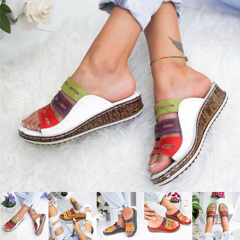 2019 New Summer Women Sandals Stitching Sandals Ladies Open Toe Casual Shoes Platform Wedge Slides Beach Woman Shoes