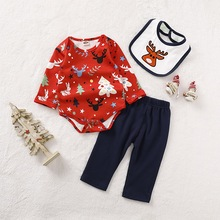 My First Christmas Newborn Clothes Set Baby 3Pcs Cartoon Print Long Sleeve Bodysuit+Pant+Bibs Outfits D30