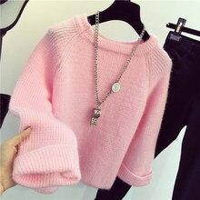 0,4 Зимний новый сияющий пушистый мягкий мохер теплый свитер для женщин свитера пуловеры Pull Femme Трикотажная майка топы джемперыВодолазки    АлиЭкспресс
