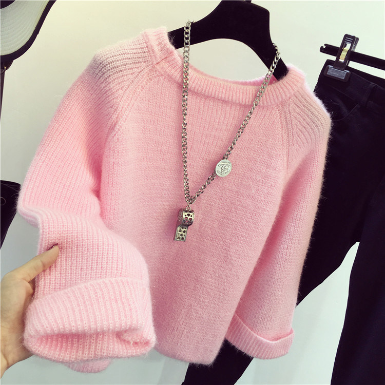 Winter New Shining Fluffy Soft Mohair Warm Sweater For Women Sweaters Pullovers Pull Femme Tricot Jersey Tops Jumper