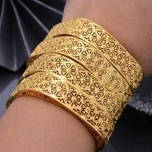4 stücke Dubai Kalte Farbe Armreifen Für Frauen Mittleren Östlichen Arabischen/Dubai Gold Farbe Gemusterten Kupfer Armbänder Mädchen Schmuck können Öffnen