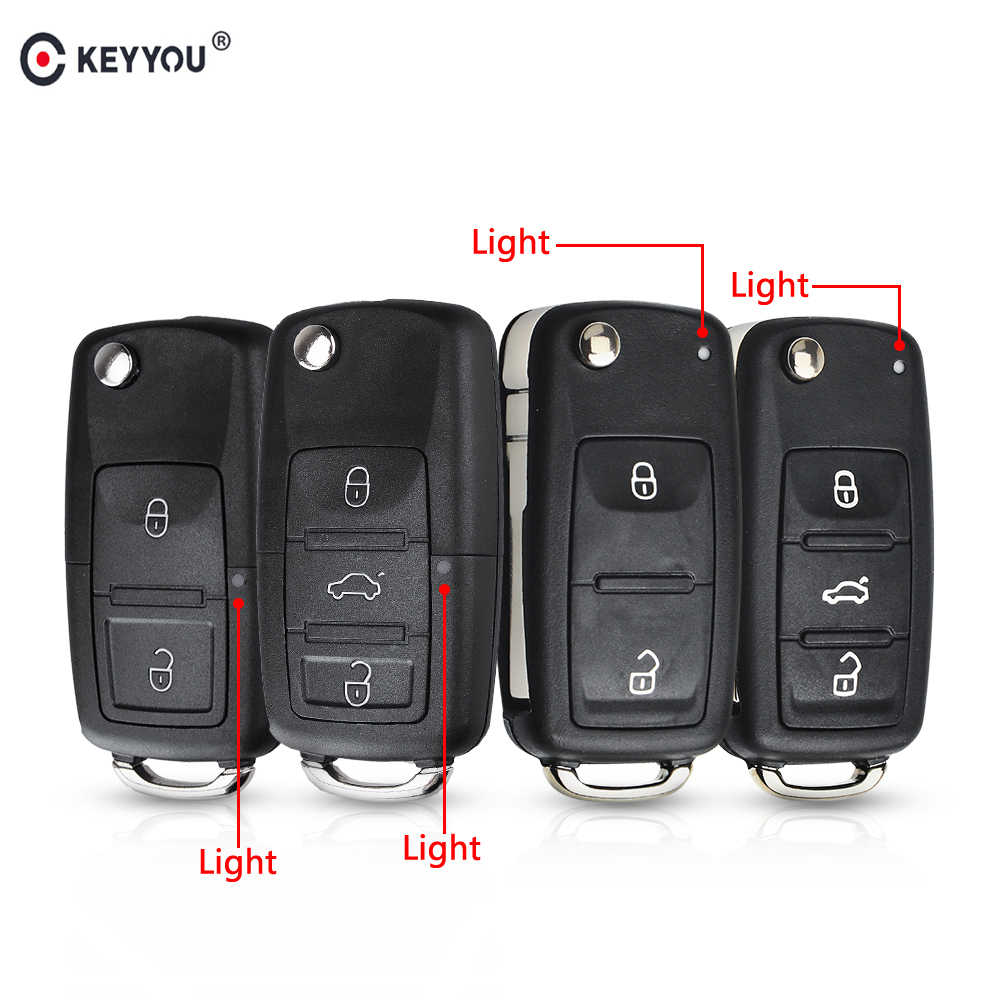 KEYYOU 3 Button Flip Remote Key Shell Car Key Case For VW VOLKSWAGEN Tiguan Golf Sagitar Polo MK6 caddy passat b6 Auto Keys Case
