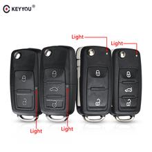 KEYYOU 3 przycisk osłona klucza zdalnego obracana obudowa kluczyka do samochodu dla VW VOLKSWAGEN Tiguan Golf Sagitar Polo MK6 caddy passat b6 Auto etui na klucze tanie tanio Key Shell for VW VOLKSWAGEN Tiguan Golf Sagitar Polo MK6 abs platic CHINA For VW Jetta Key For VW golf 4 Key For vw polo 6r Key