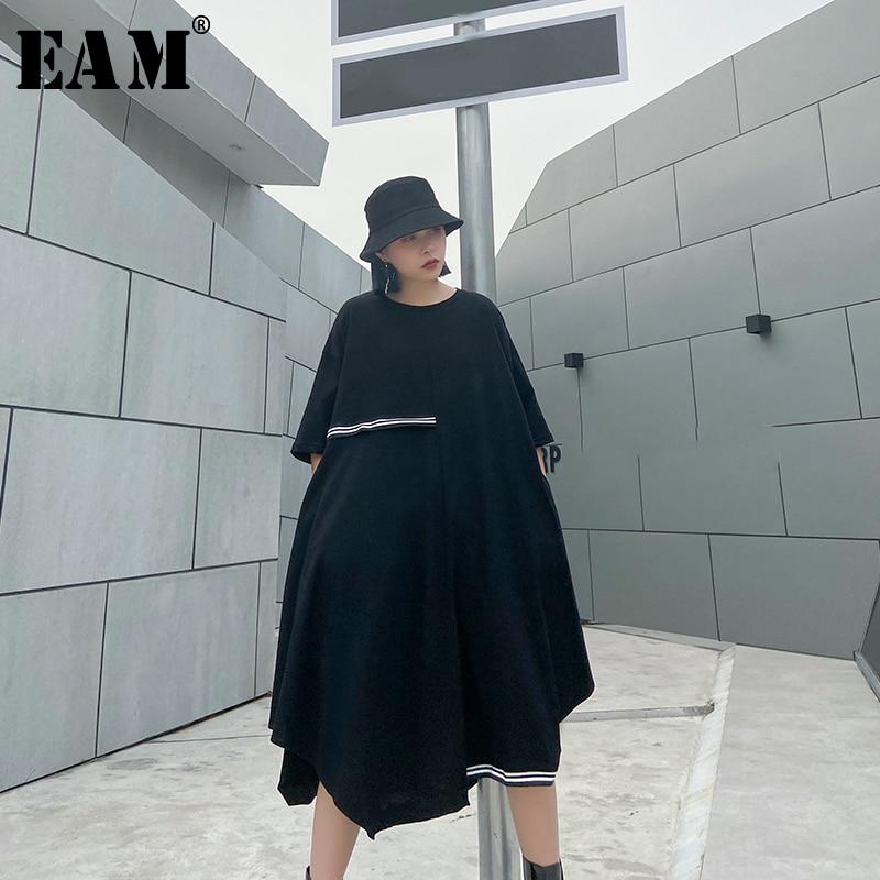 [EAM] Women Black Striped Asymmetrical Big Size Dress New Round Neck Half Sleeve Loose Fit Fashion Tide Spring Summer 2020 1U076