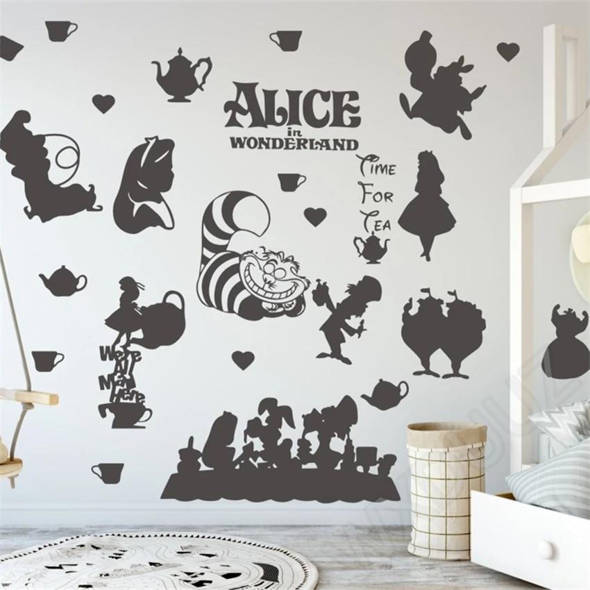 Disney Alice In Wonderland Art Cartoon Home Decor Wall Vinyl Sticker Decal Anime Manga Quote Nursery For Kids Rooms Poster Stickers Aliexpress