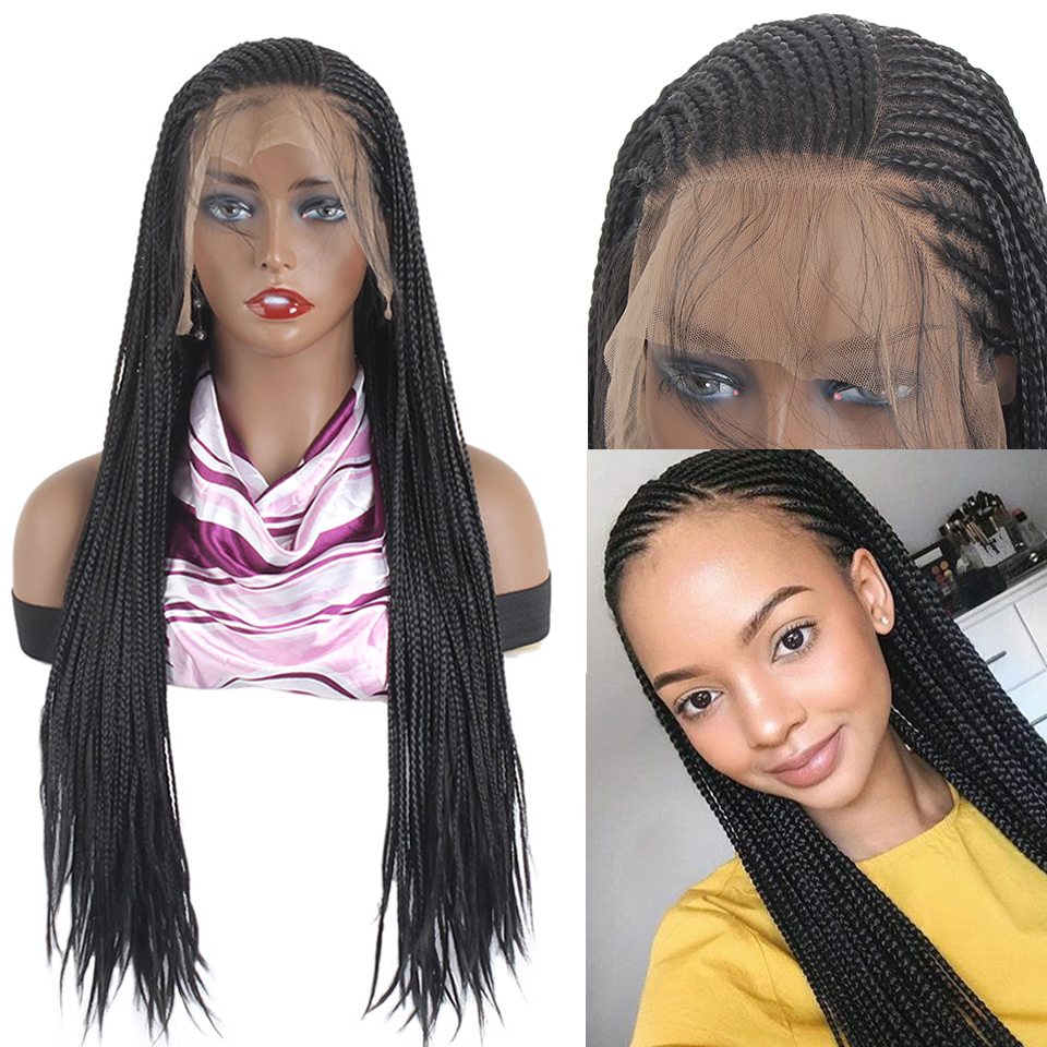 Leeven Braids Wigs Cornrows Long-Braided-Box Synthetic-Hair Lace-Front Black Africans title=