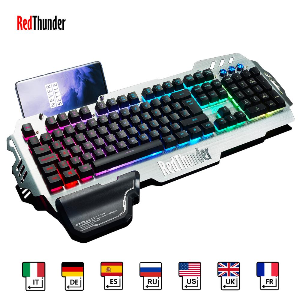 pk 900 - RedThunder K900 RGB Gaming Keyboard Mechanical Similar Russian Spanish French Multilingual Metal Cover for Tablet Desktop