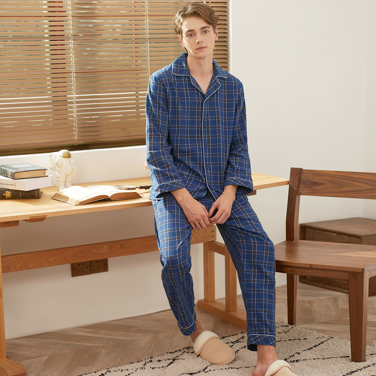 Suit Sleepwear Couple Warm Winter Pajamas-Set Cotton And Autumn Elsmorr Turn-Down-Collar