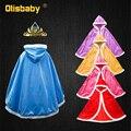 Зимняя накидка Эльзы для девочек 2020, бархатная накидка для девочек, голубая одежда принцессы для девочек, детская шаль с капюшоном из мультф...