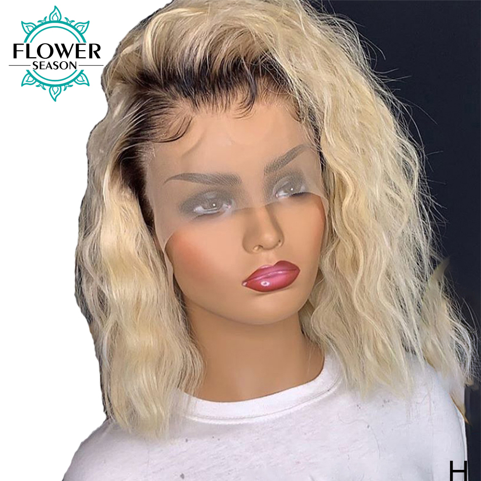 1b/613 Honey Blonde Human Hair Wig Short Bob 13*6 Lace Front Wig Pixie Cut 150%density For Women Remy Brazilian FlowerSeason