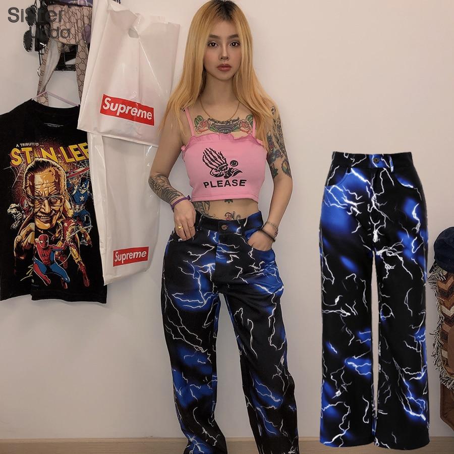 Sisterlinda Print Casual Pants Women Fashion Streetwear Harem Pants High Waist Joggers Wide Leg Sweatpant Lady Long Trousers2020(China)