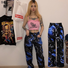 Sisterlinda Print Casual Pants Women Fashion Streetwear Harem Pants High Waist Sweatpant Lady Long Pant Mujer Trousers For Women cheap Polyester Full Length P1735369 High Street Flat Loose Pockets Knitted Button Fly