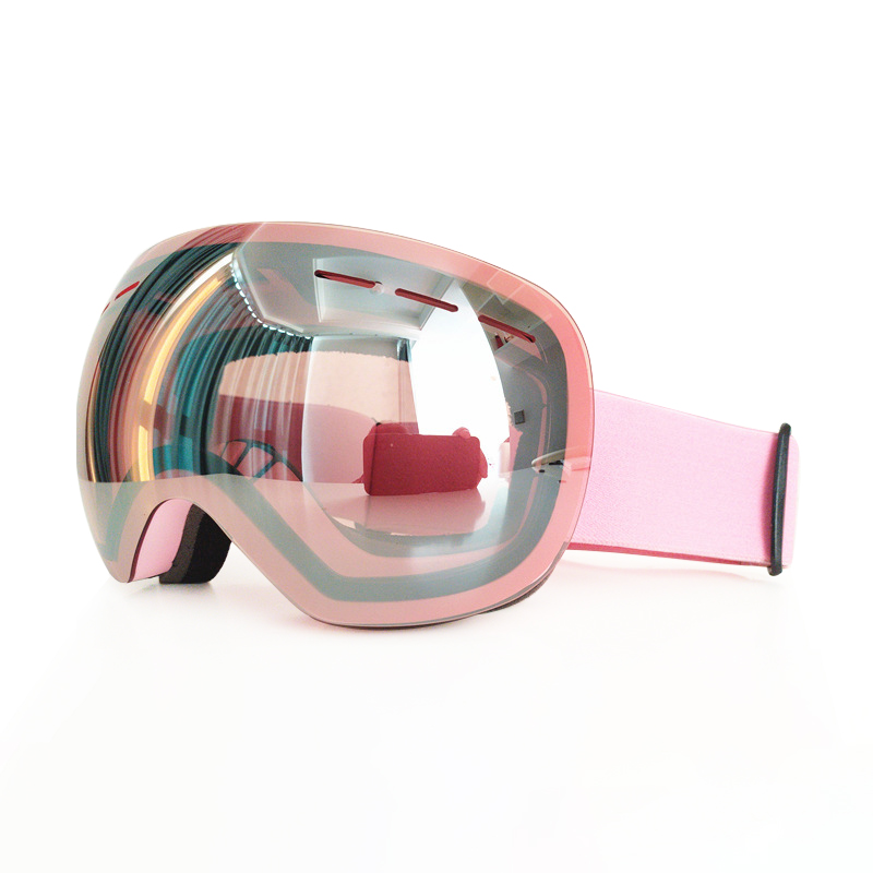 Skiing Double Layer Pink Women Ski Goggles  Frameless Snow Glasses  Anti Fog Protection Snowboard Snow Goggles