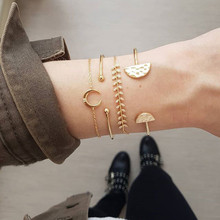 ZORCVENS 4Pcs/Set Retro Female Moon Leaves Round Crystal Chain Opening Gold Charm Bracelet for Woman Fashion Jewelry Gift