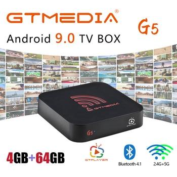 GTmedia G5 Amlogic S905X2 Android 9.0 TV Box 4GB 64GB 2.4G 5G Built in WiFi 1000M LAN Bluetooth 4K HD Media Player Set Top Box mecool ki pro smart android tv box quad core cortex a53 2g 16g android 7 1 bluetooth 4 1 5g wifi 4k 1000m lan portable tv box