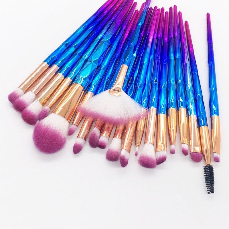 20 шт. алмазные кисти для макияжа, набор кистей для глаз, инструменты для красоты, веерный порошок, тени для век, контур, косметический красочн...