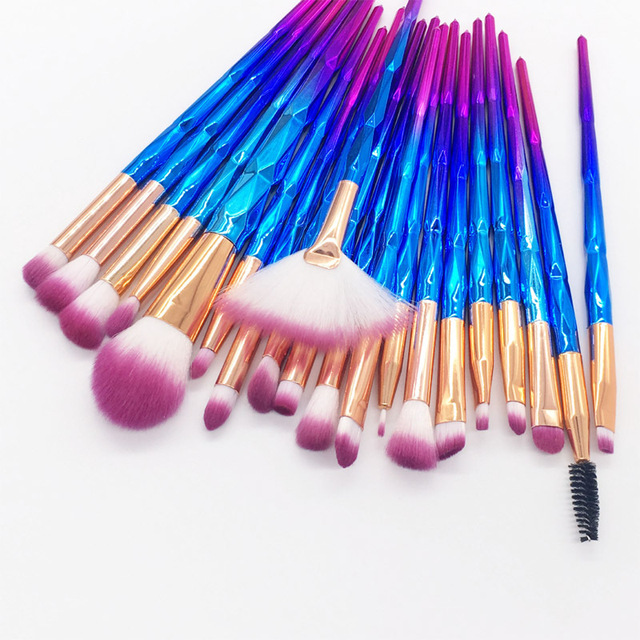 20pcs Diamond Makeup Brush Set Eye Brush Beauty Tools Fan Powder Eyeshadow Contour Beauty Cosmetic Colorful For Make Up Tool 2