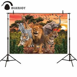 Image 2 - Allenjoy photophone background Wild animals safari zoo forest  lion king backdrop for photography Birthday Baptism photobooth