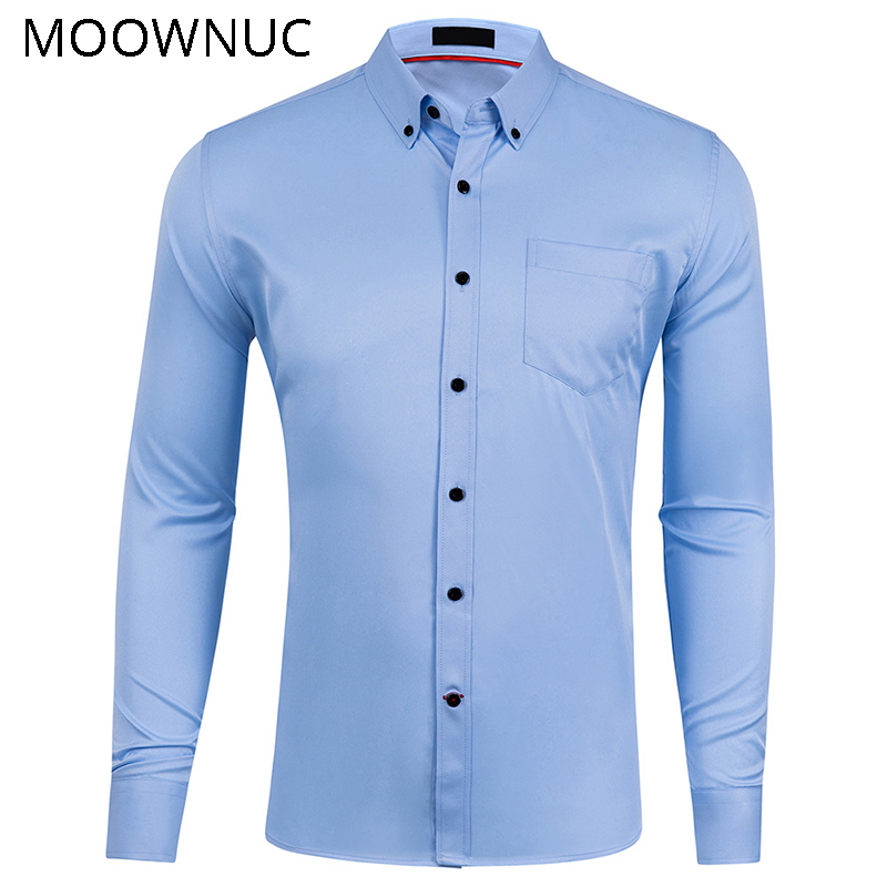 Male Fashion Brand Shirts Spring Smart Casual Thick No Ironing  US Size  Men Summer Long Sleeve Formal Wear MOOWNUC Elastic MWC