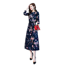 Plus Size Dress Mid-Calf Three Quarter Print A-Line Casual Polyester Cotton O-Neck Winter Dresses Women 2019 Clothes New