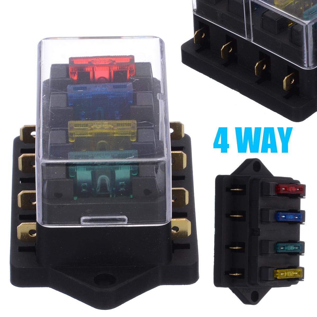 1pcs 4 Way Fuse Box DC 12V 24V 40A Circuit Car Trailer Auto Blade Fuse Box Block Holder ATC ATO Fuse Holder with 4 Fuse