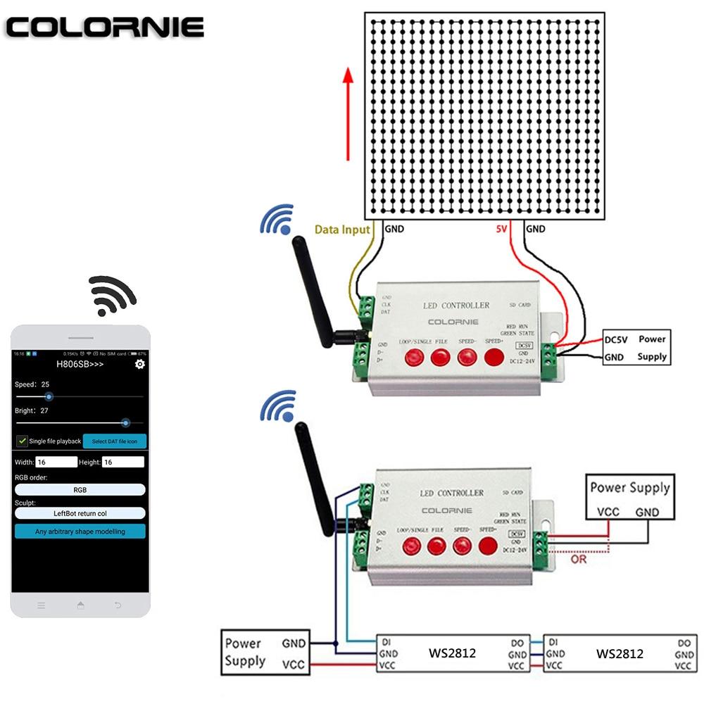 WIFI Led Controller WS2811 Led Strip RGB Controller SD Card SPI Controller 2048 Piexls DC5-24V RGB Controler