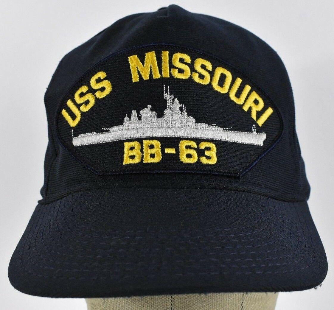 Printed Navy Blue USS Missouri BB-63 Printed   Baseball   hat   cap   Adjustable Snapback