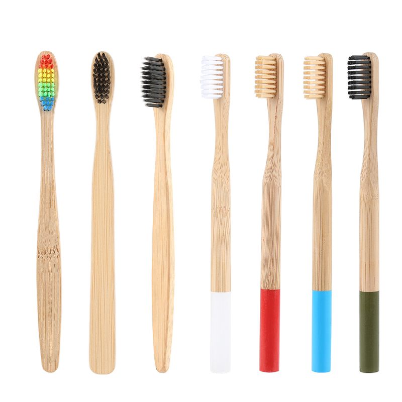 NEW Natural Bamboo Toothbrush Charcoal Low Carbon Nylon Wood Handle Protable Brush