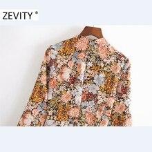 Zevity Autumn Women Vintage Stand Collar Flower Print A Line Mini Dress Office Ladies Ruffles Sleeve Casual Chic Vestido DS4542