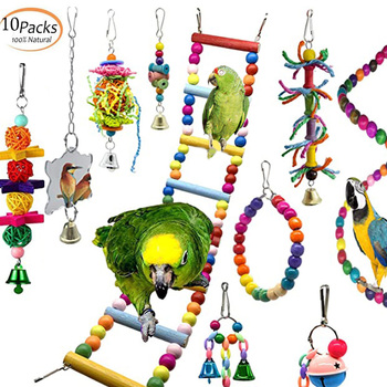 10 Packs Bird Swing Chewing Toys Parrot Hammock Bell Toys Parrot Cage Toy Bird Perch with Wood Beads Hanging for Small Parakeets 8pcs parrot toys birds toys swing bird chewing toys birds cage toys