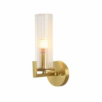 American Copper wall light post-modern light luxury living room study bedroom simple Nordic pattern villa wall lamp