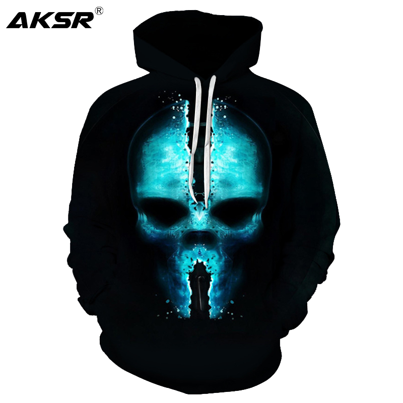 AKSR 2019 Autumn Men 3D Hoodies Sweatshirt Skull Funny Hoodie Pullover Hooded Sweatshirts Hip Hop Men Hoodie Streetwear Sudadera