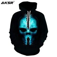 AKSR 2019 Autumn Men 3D Hoodies Sweatshirt Skull Funny Hoodie Pullover Hooded Sweatshirts Hip Hop Streetwear Sudadera