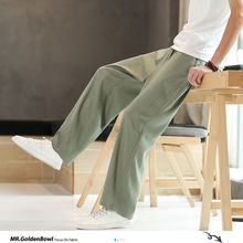 MrGoldenBowl Man's Fashion 2020 Chinese Style Linen Pants Man Casual Large Size