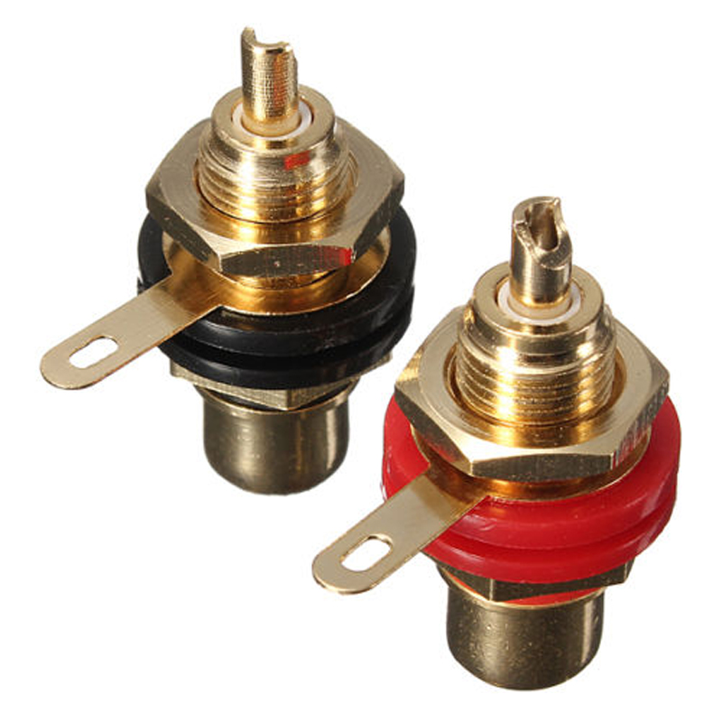 1pair Gold Plated Speaker Terminal Audio Adapter RCA Phono Female Chassis Panel Sockets Connectors Black & Red