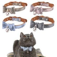 Collier en Nylon pour Chat, nœud papillon, breloque de sécurité, cloche en cuir, ceinture, Chihuahua, Chat