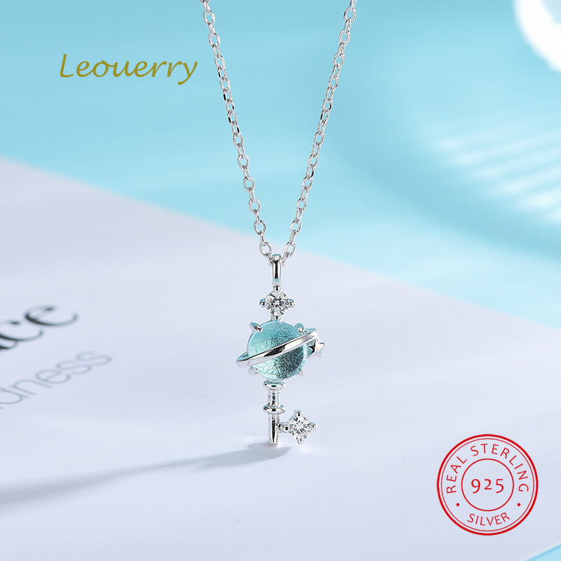 Leouerry 925 Sterling Silver Fantasy Planet Key Necklace Women Clavicle Chain Blue Aurora Cosmic