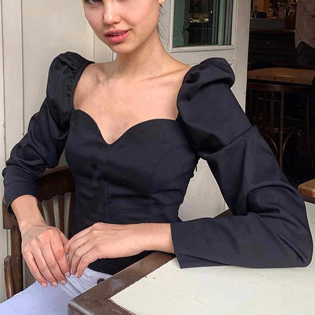 Vintage col carré décontracté manches bouffantes femmes chemises et Blouses automne solide à manches longues hauts blusa feminina 2020 mode