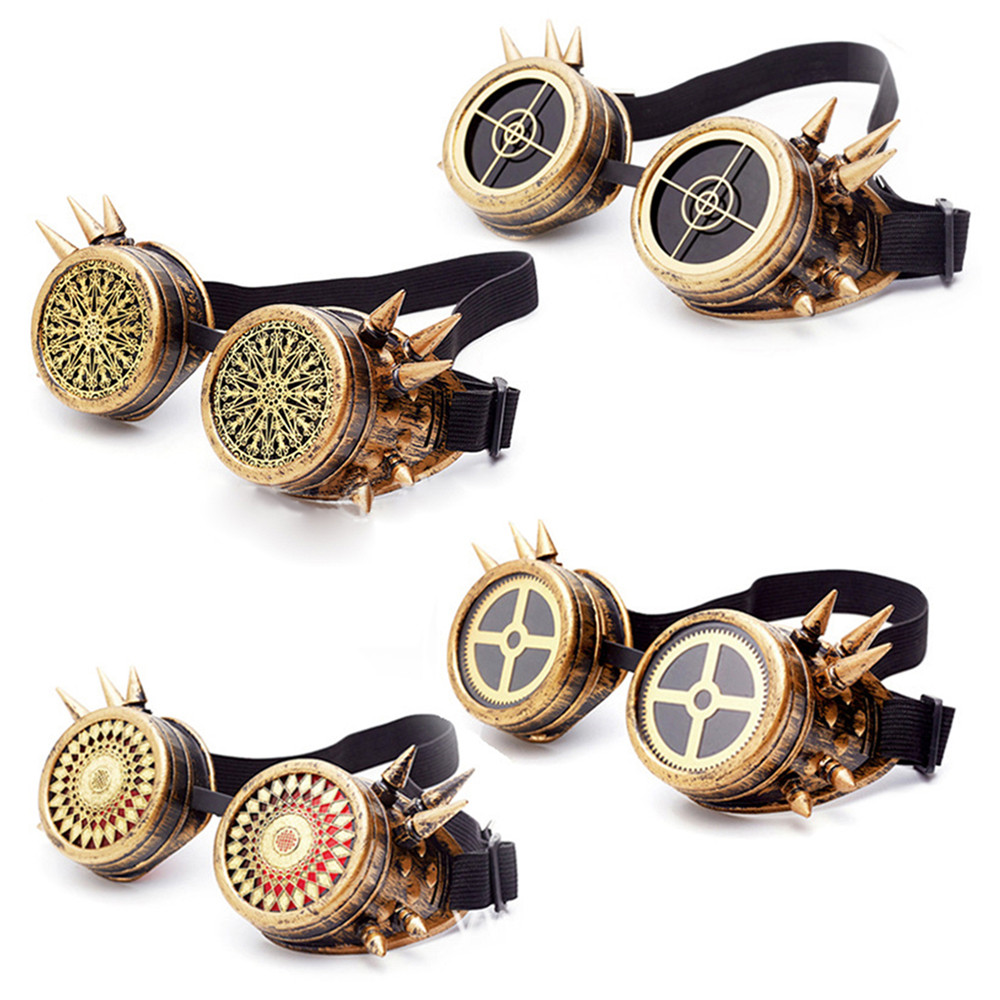 Vintage Steampunk Glasses Gothic Spiked Rivet Welding Cyber Goggles Outdoor Sunglasses Victorian Costume Accessories(China)