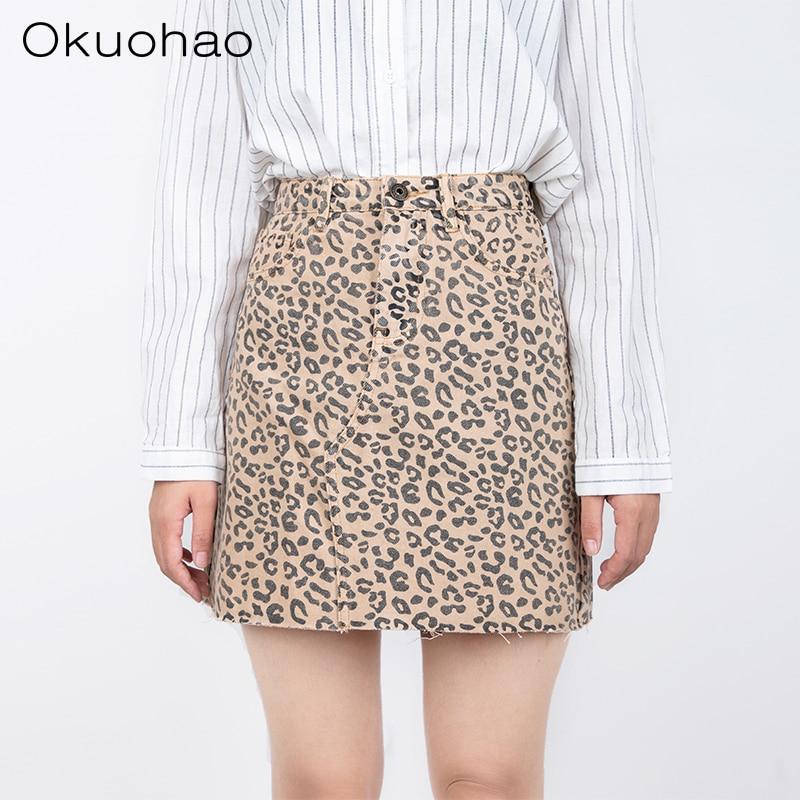 Okuohao Denim Skirt High Waist A-line Mini Skirts Women 2019 Summer Fall New Arrivals Single Ms Leopard Skirt Style Saia Jeans