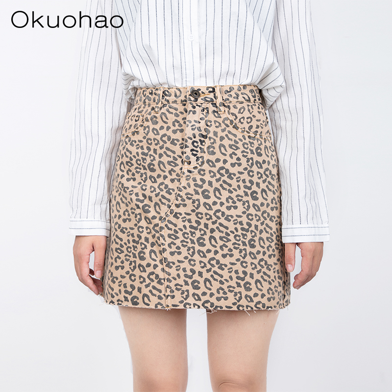 Okuohao <font><b>Denim</b></font> <font><b>Skirt</b></font> <font><b>High</b></font> <font><b>Waist</b></font> A-line Mini <font><b>Skirts</b></font> Women 2019 Summer Fall New Arrivals Single Ms Leopard <font><b>Skirt</b></font> Style Saia <font><b>Jeans</b></font> image