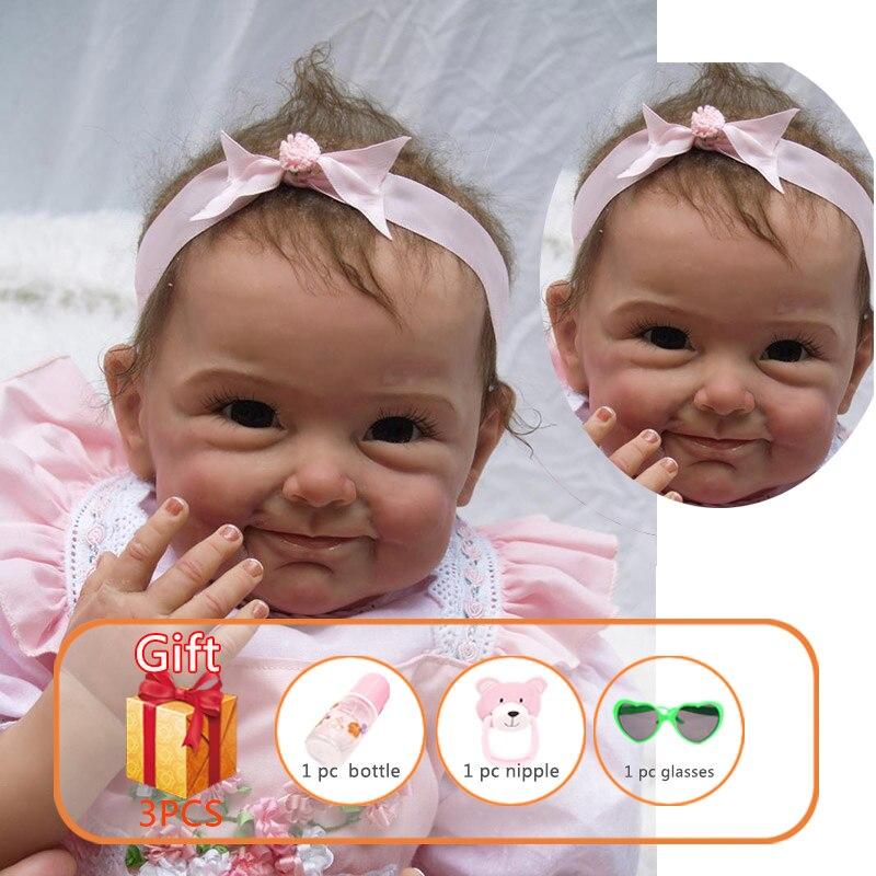 NPK 55cm Reborn bébé poupée Silicone membres coton corps poupée Imitation de réel bébé Reborn bambin poupée jouets pour enfants