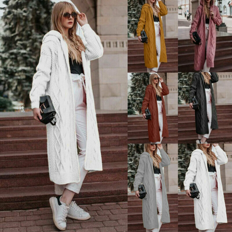 Women`s Casual Knitted Cardigan Long Sleeve  Hooded Sweater Winter Warm Solid Color Long Sweaters Coat