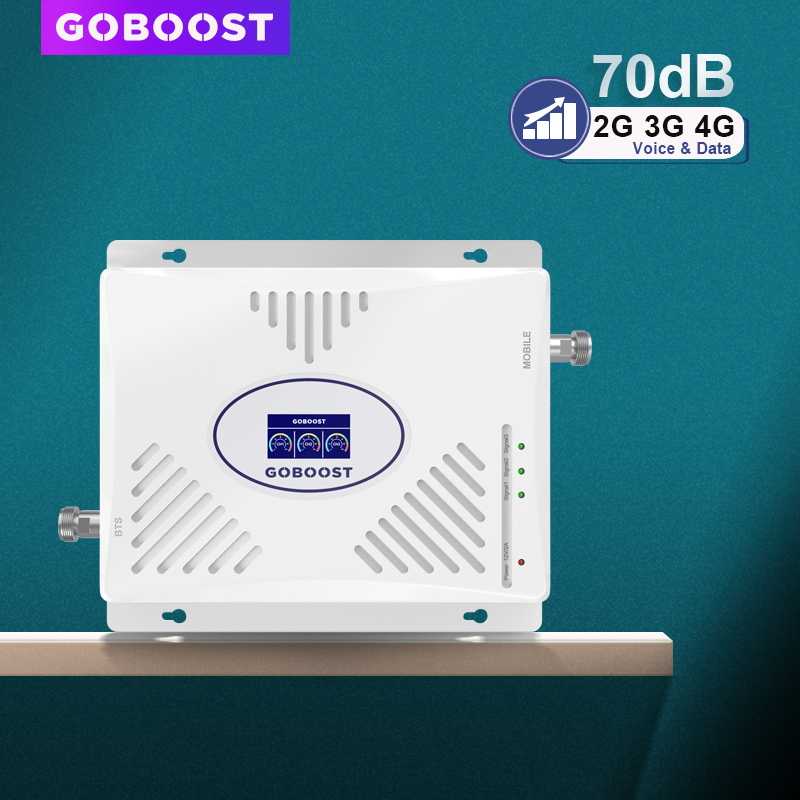 GSM Cellular Amplifier 4G 70dB GSM Repeater 2G 3G 4G Signal Booster 900 1800 2100 Tri Band LTE 2600 4G Cell Phone Amplifier 3G